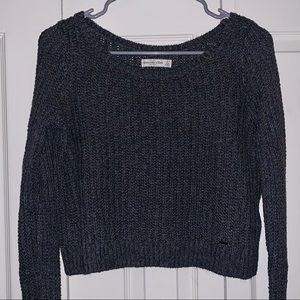 A&F Cropped Long Sleeve Knit Soft Sweater Gray